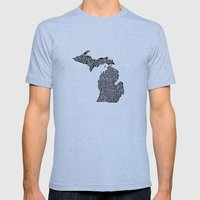Typographic Michigan Mens Fitted Tee Athletic Blue SMALL