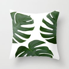 Monstera Leaves on White Throw Pillow