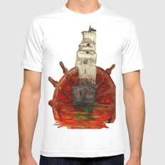 Steering into a new setting White SMALL Mens Fitted Tee