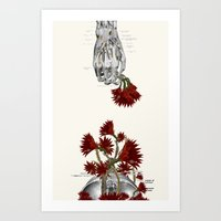 Blood Flowers anatomical collage by bedelgeuse Art Print