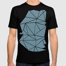 Ab Lines Sky Blue Mens Fitted Tee SMALL Black