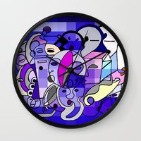 Blue White Commotion Wall Clock