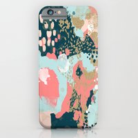 iPhone Cases featuring Eisley - Modern fresh abstract painting in bright colors perfect for trendy girls decor college by CharlotteWinter