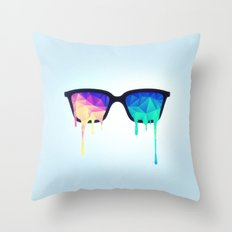 Psychedelic Nerd Glasses with Melting LSD/Trippy Color Triangles Throw Pillow