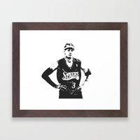White Iverson Framed Art Print