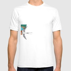 Swallows, geometric drawing White Mens Fitted Tee SMALL