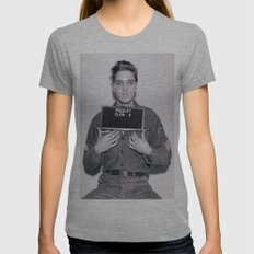 Elvis Presley Mugshot Womens Fitted Tee Athletic Grey SMALL