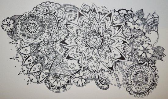 bloom henna pattern art print by madeline margaret society6. Black Bedroom Furniture Sets. Home Design Ideas