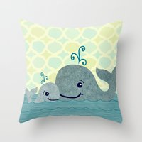 Whale Mom and Baby Throw Pillow