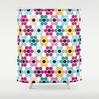 Floral Dots (Velvet texture) Shower Curtain