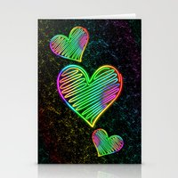 Heart Love Neon Rainbow … Stationery Cards