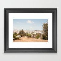 Bernal Heights viewing platform : panoramic view over San Francisco Framed Art Print