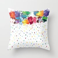 Rainbow raindrops Throw Pillow