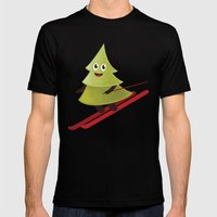 Happy Pine Tree On Ski Mens Fitted Tee Black SMALL