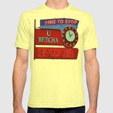 U Betcha Pub sign Mens Fitted Tee Lemon SMALL