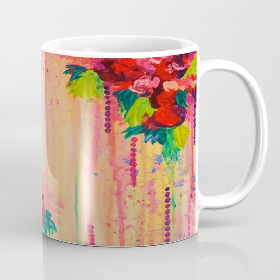 STRAWBERRY CONFETTI PAINTING Abstract Acrylic Floral Beautiful Feminine Flower Bouquet Girlie Pink Mug