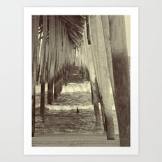 Carolina Beach Pier at Low Tide _Sepia Art Print