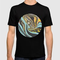 Wavy Marbling Mens Fitted Tee Black SMALL