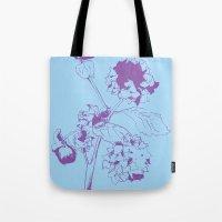 Hydranga - Purple On Blu… Tote Bag