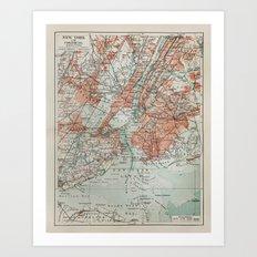 Vintage Map New York Art Print
