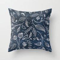 Metallic Floral Throw Pillow