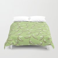 Lovely Green Leaves Duvet Cover