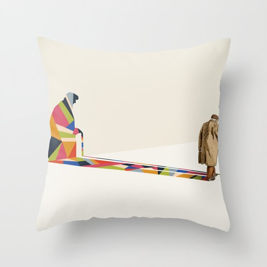 Walking Shadow, Old Man Throw Pillow