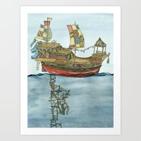 Pirate Ship Print Art Print