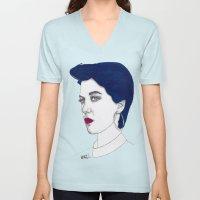 Girl with Blue Hair Unisex V-Neck