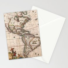 1658 Visscher Map of North America & South America (with 2015 enhancements) Stationery Cards