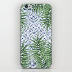Moroccan tiles and palm leaves iPhone & iPod Skin