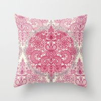 Happy Place Doodle in Berry Pink, Cream & Mauve Throw Pillow
