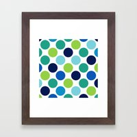 Big Loving Dots: Blue Multi Framed Art Print