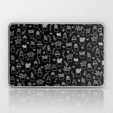 Potted Plants Pattern (White on Black) Laptop & iPad Skin