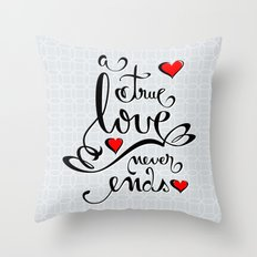 Valentine Love Calligraphy and Hearts Throw Pillow