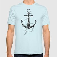 Anchor Print Mens Fitted Tee Light Blue SMALL