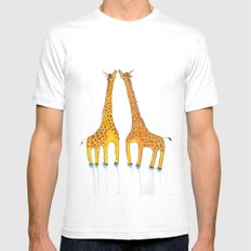 Unicorn Giraffes  SMALL White Mens Fitted Tee