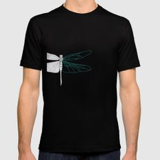 Geometric Dragonfly Mens Fitted Tee SMALL Black