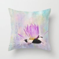 Painted Water Lily Throw Pillow