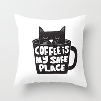 coffee is my safe place Throw Pillow