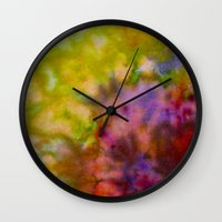 Burgundy And Olive Abstr… Wall Clock