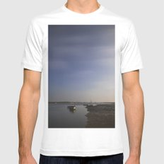 Moonlight on boats under a star filled sky. Brancaster Staithe, Norfolk, UK. Mens Fitted Tee White SMALL