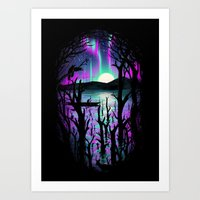 Night With Aurora Art Print