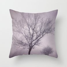 Three trees under the rain. Retro Throw Pillow