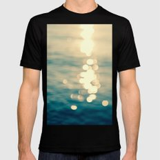 Blurred Tides Black Mens Fitted Tee SMALL