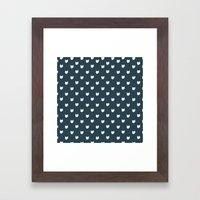 Navy Cats Pattern Framed Art Print
