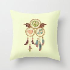 Peace, Love and Music Throw Pillow