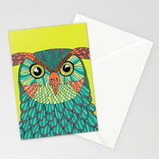 owl - Lime green Stationery Cards