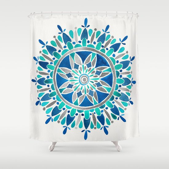 Mandala Silver Blue Shower Curtain By Cat Coquillette Society6
