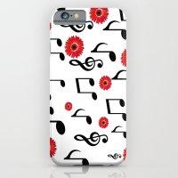 Musical Notes & Red Gerberas iPhone 6 Slim Case
